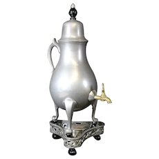 Vintage Dutch Pewter Tapped Jug With Chafing Dish