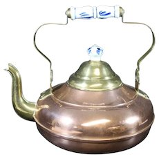 Beautiful Vintage Copper Kettle with Delft Blue Handle & Lid Knob