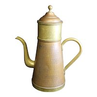 Belgian Made Vintage Patinated Copper Three Part Coffee Pot - 25.5cm