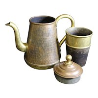 Belgian Made Vintage Copper Three Part Patinated Coffee Pot - 9.5cm