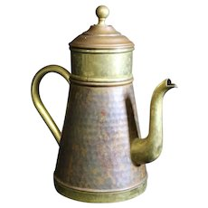Belgian Made Vintage Patinated Copper Three Part Coffee Pot - 9.5cm