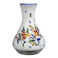 French Rouen Style Ceramic Floral Bud Vase