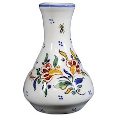 French Rouen Style Ceramic Floral Bud Vase