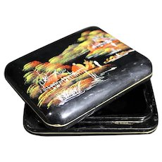 Black & Red Asian Themed  Lacquered Box
