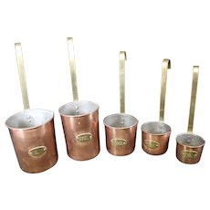 Stunning Set of Copper, Brass & Tin Measuring Ladles - Set of 5