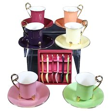 Tri-Footed Contemporary Demi-Taste Cups & Saucers