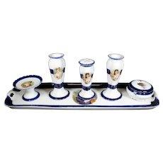Antique Porcelain Decorative Desk Set Ensemble