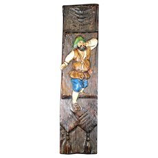 Vintage Hand Painted Pirate on Wooden Wall Display