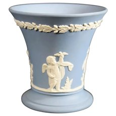 Wedgwood Jasperware Blue Tapered Vase