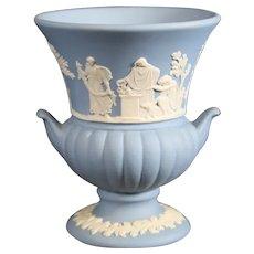 Wedgwood Jasperware Blue Double Handled Vase