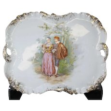 Beautiful Rectangular Scalloped Decorative Plate from the renowned A. Hache &  Co Vierzon.