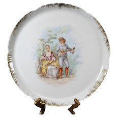 Beautiful Round Scalloped Decorative Plate from the renowned A. Hache & Co Vierzon.