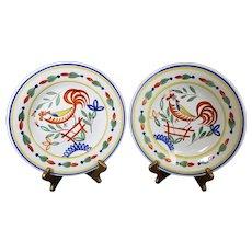 Henriot Quimper - Pair of Impressionist Style Bird Plates