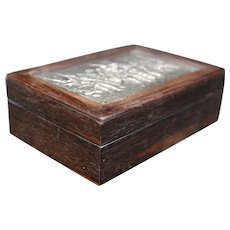 Rosewood & Bas Relief Silver Plated Medium Jewelry Box