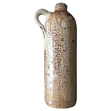 Glazed Stoneware Mottled Brindle Brown Gin Jar