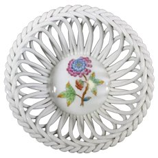 Herend Blue Purple Openwork Braided Porcelain Bonbon Dish
