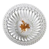Herend Autumnal Pattern Openwork Braided Porcelain Bonbon Dish