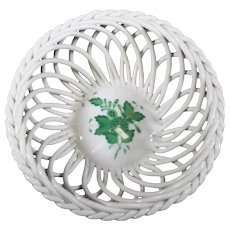 Herend Summer Green Openwork Braided Porcelain Bonbon Dish