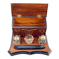 Double Inkwell Desk Set & Correspondence Organizer - 19th Century
