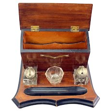 Double Inkwell Desk Set & Correspondence Organizer - 19th Century