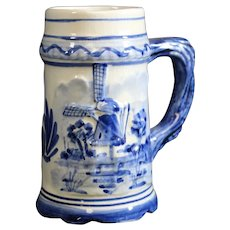 Delft Blue Windmill Decorated Beer Mug or Stein