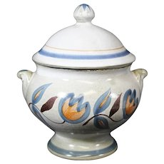 Blue Topped Covered Floral Decorated Jar