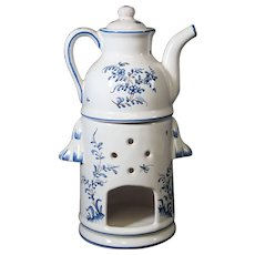 Blue Three Piece Teapot & Warmer Set
