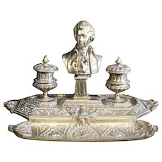 Mozart Bust on Vintage Double Heavy Brass Inkwell