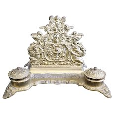 French Double Inkwell and Letter Rack with Cherubs