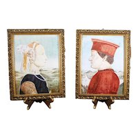 Pair of Hand Painted Italian Faenza Tiles - Male & Female Portraits