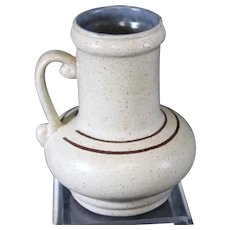 Ornate German Banded Cream Handled Vase