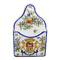 French Wall Pocket With Crest Of St Malo