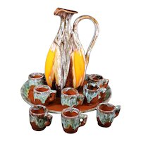 A French Schnapps or Wine set of Jug, Platter and Eight Cups from Vallauris