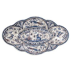 Portuguese Faience Conímbriga Long Scalloped Ceramic Dish