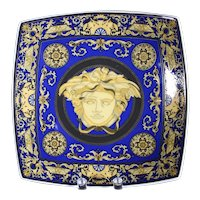 Classic Blue and Gold Versace Head Rosenthal Collectors Plate