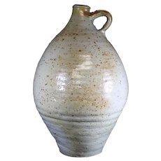 Large Earthenware Vintage Jar with Loop Handle