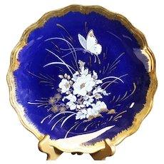 Limoges Blue Flower Patterned Classic Blue Plate