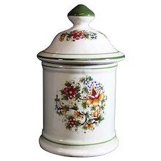 Hand-Painted Lidded Italian Ceramic Jar