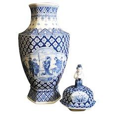 Regout Maastricht 1890 - Delft Blue Cabinet Dutch Lidded Ceramic Vase