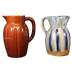 Set of Two French Art Pottery Ceramic Jugs