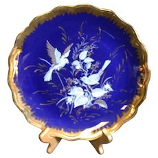 Limoges Blue Bird Patterned Classic Blue Plate