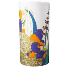 Wolf Bauer - Studio Line - Rosenthal - Blue & Orange Floral Vase
