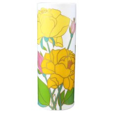 Wolf Bauer - Studio Line - Rosenthal - Cylindrical Yellow & Cerise Floral Vase