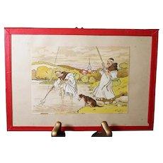 Harry Elliot - French illustrator - Monks Fishing in the River