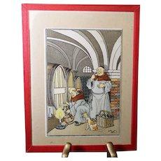 Harry Elliot - French illustrator - Monks Making Wine