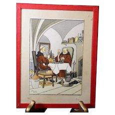 Harry Elliot - French illustrator - Monks Having Dinner