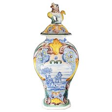 Ornate Hand-Painted Foo Dog Vase with Extensive Decor