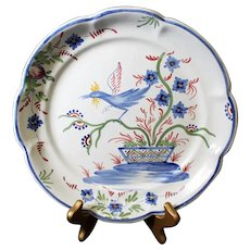 Malicorne Blue Floral Hand-Painted Decor Plate