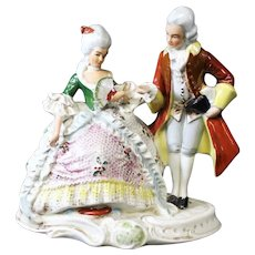 Grafenthal German Porcelain Figure of Red Coated Dancing Couple