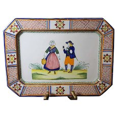 Henriot Quimper Rectangular Hand-Painted Platter